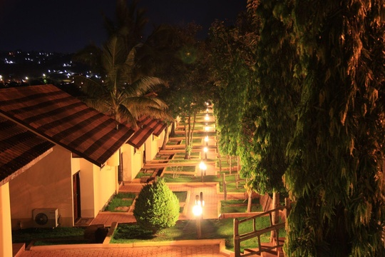 Pathway outside the Executive Rooms at night